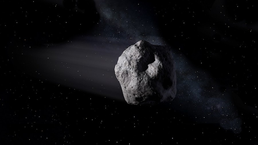Atira asteroids,like the newly discovered asteroid 2019 LF6,are a unique class of near-Earth objects(called interior-Earth objects)with orbits that are entirely contained within Earth's orbit.This artist's concept depicts a near-Earth asteroid hurtling through space.NASA/JPL-Caltech